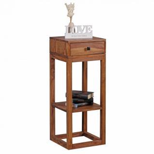 WOHNLING Beistelltisch Massivholz Sheesham Anstelltisch Telefontisch mit Schublade 35 x 35 x 90 cm
