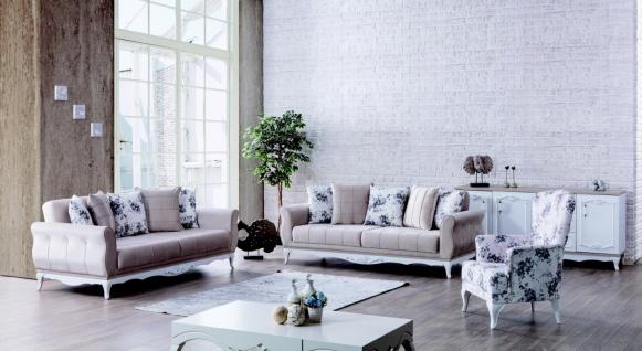 Weltew Sofa Set inkl. einem Sessel Natalee Creme/Weiß