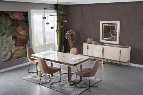 Lidya Esstisch mit 6 Stühlen Lucca Creme Bronze