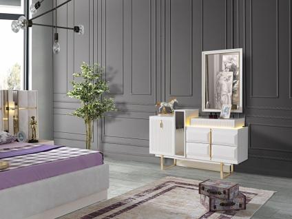 Schlafzimmer Kommode Pianno mit Spiegel & LED