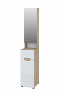 Hochschrank mit Spiegeltüre Eiche Weiß Leonardo