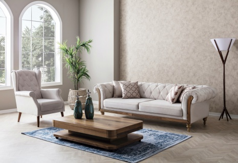 Couch Set Lifa 2-teilig in Beige in Nubukleder Optik