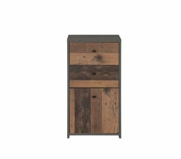 Schmale Kommode Beton-Holz Optik Chesto