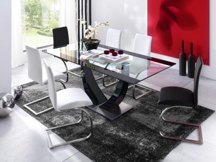 Tavo Esstisch 200x100 Klarglas mit Edelstahl gebürstet