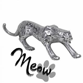 Design Deko Figur Panther 60 cm aus Aluminium Farbe Silber