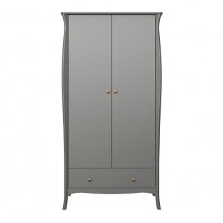Kleiderschrank Grau Bastian 2-türig Romantik Stil