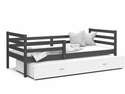 Kinderbett mit Gästebett Grau Weiß Rico 80x190