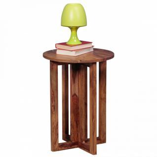WOHNLING Beistelltisch Massivholz Sheesham Design Anstell-Tisch 45 x 45 cm rund Nachttisch Deko Echt-Holz Landhaus-Stil