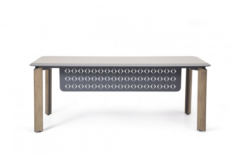 Ovali Schreibtisch 4-beinig Twist Holzoptik 180x90x75