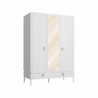 Almila Kleiderschrank Elegant White 3-türig