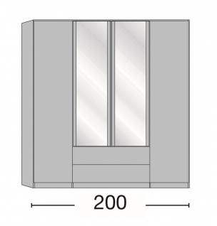 Kleiderschrank Delina in Trüffeleiche 200 cm mit Spiegeltüren - Vorschau