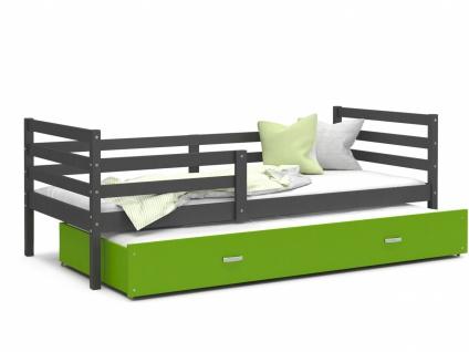 Kinderbett mit Gästebett Grau Grün Rico 80x190