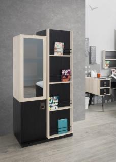 Bücherregal Lotus in Schwarz/Ahornoptik mit Türen