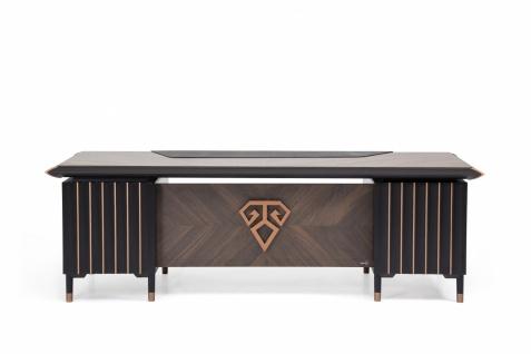 Ovali Schreibtisch Newark Schwarz Bronze