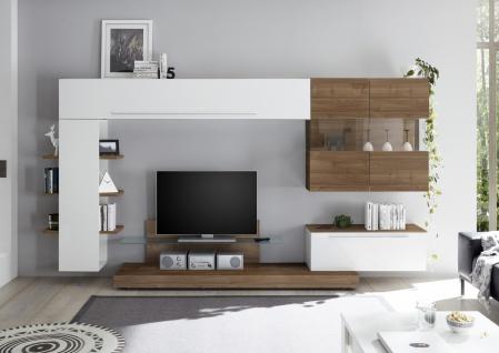 Wohnwand Set Weiß Nussbaum Optik dunkel Veldig