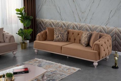Lidya Sofa Garnitur Pemi mit Sessel und 3-Sitzer Braun
