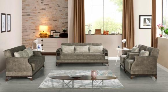 Exklusive Sofa Garnitur mit Stauraum Grau Linda 3+2+1