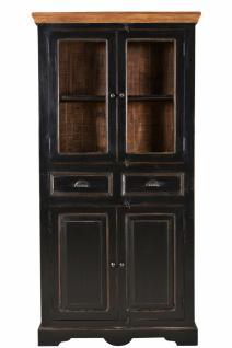 Vitrine Corisa mit 4 Türen aus schwarzem Mangoholz