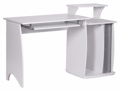 Computertisch Fabian Weiß 130 cm mit CD Ablage & Tastatur Ablage
