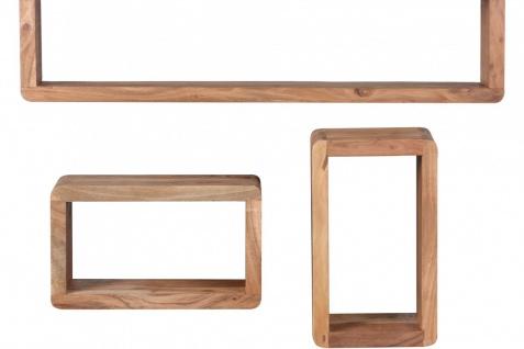 Akazie Massivholz 3er Set Wandregale Cubes