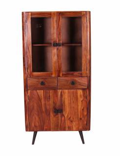 Vitrine Button mit 4 Türen aus Sheeshamholz Natur