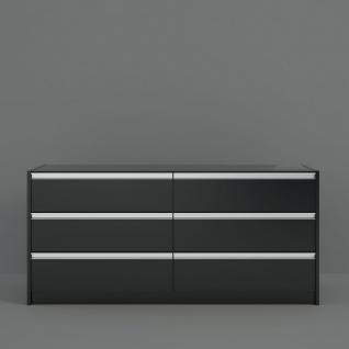 Sideboard Schwarz Braun Borry sechs Schubladen