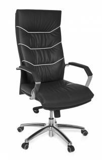 XXL Chefsessel Ferrol Echtleder schwarz, 5-Punkt Multiblock-Mechanik, Bürostuhl bis 120kg