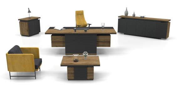 Büromöbel komplett Set Royce Holz Optik 3-teilig