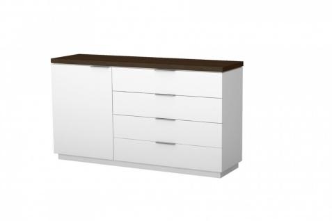 Sideboard Tanami 1-türig in Weiß mit Eiche Schoko