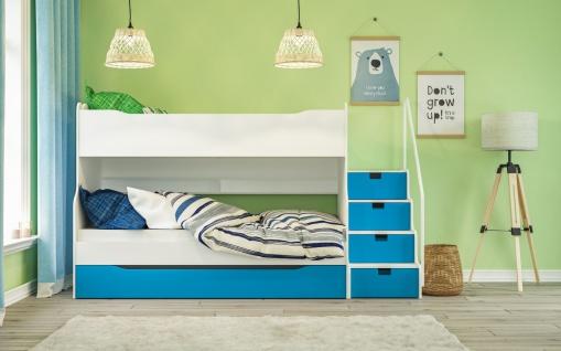 Etagenbett Max 4 mit Schubkastentreppe in Weiß / Blau