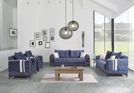 Exklusive Sofa Garnitur mit Stauraum Blau Okyanus 3+2+1
