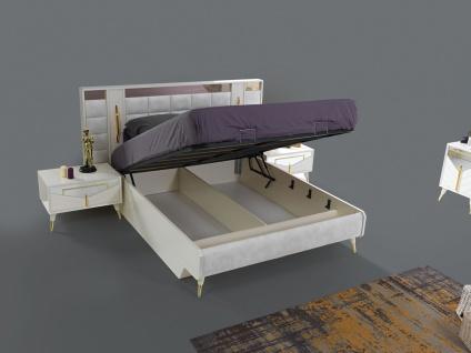 Doppelbett Piramit mit Stauraum und Kopfteil in Weiß