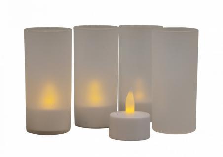 4er Set LED Teelichter mit Windschutz und Ladestation