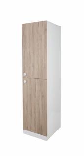 Schmaler Kleiderschrank in Weiß und Holzoptik Puzzle