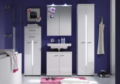 Badezimmer Set Mile 4-teilig in Weiß Hochglanz