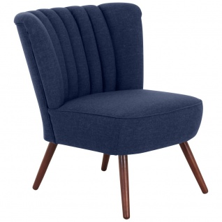 Design Sessel in Dunkelblau Jule Leinenoptik