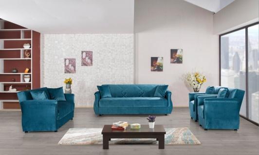 Sofa Garnitur mit Schlaffunktion in Blau Buket 3+2+1