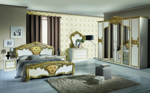 Schlafzimmer Set Eva Weiß 180x200 6-türiger Schrank