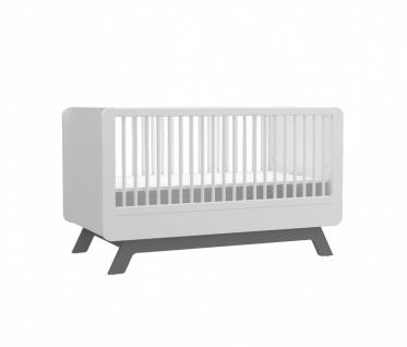 Almila Babybett Baby Cute in Weiß-Grau 70x130