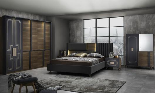 Schlafzimmer Set Beata 160x200 in Walnuss/Anthrazit