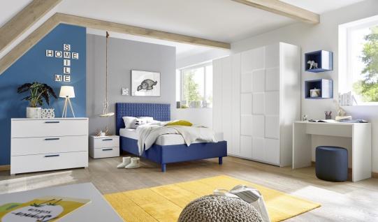 Design Polsterbett gesteppt Space Blau 120x200