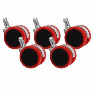 5er Set Rollen für Bürostuhl Bürostuhlrollen Rot PIN 11mm / Durchmesser 50 mm (Hartbodenrollen)