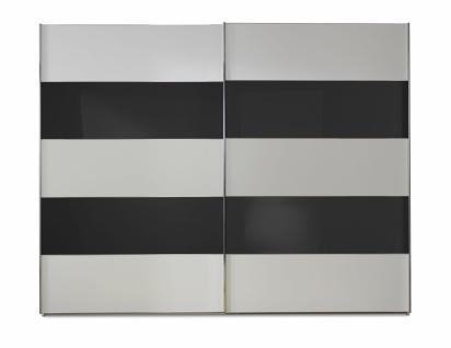 Schwebetürenschrank Genius in Weiß mit Schwarzem Glas 300 cm x 217 cm
