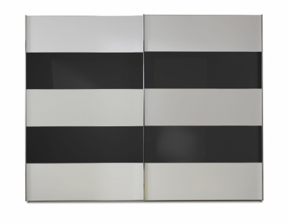 Schwebetürenschrank Genius in Weiß mit Schwarzem Glas 300 cm x 236 cm