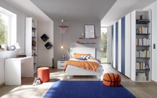 Design Polsterbett gestreift Space Weiß 120x200