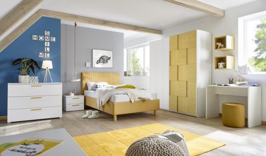 Design Polsterbett gestreift Space Gelb 120x200