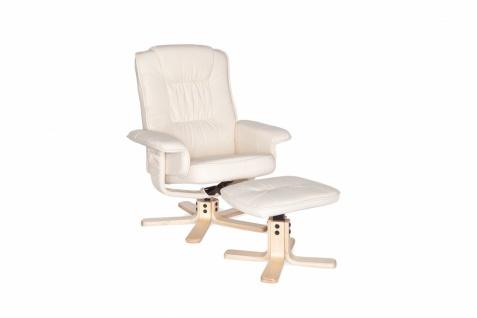 Comfort XXL Relaxsessel mit Fußauflage in Leder Optik Creme TV Fernsehsessel