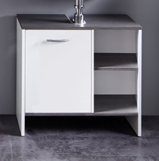 Badezimmerunterschrank Biagio mit Tür in Weiß/Grau