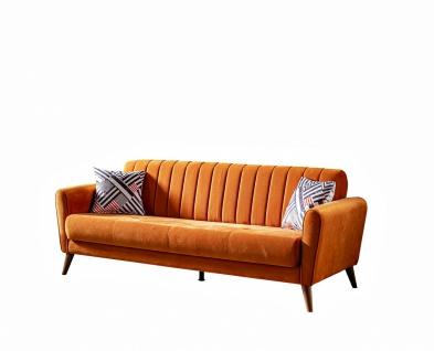 Schlafsofa Maya in Orange 3-Sitzer Wildleder Optik