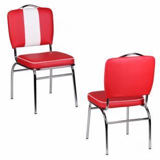 Esszimmerstuhl American Diner 50er Jahre Retro Rot Weiß